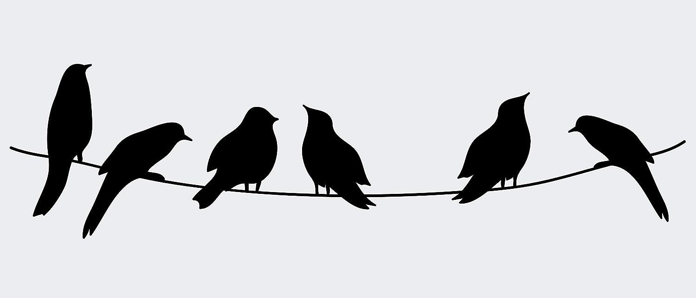 Birds On A Wire Vinyl Decal Bird Silhouette Wall Decal Sticker