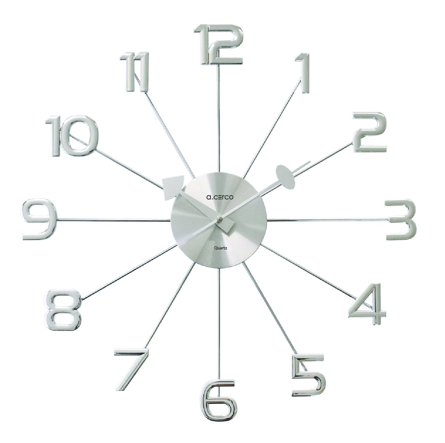 A.Cerco Analog Wall Clock – Silver Decorative Metal Silent Wall Clock – 19.1 Inch