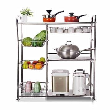 Zws 304 edelstahl gemüse regale mehrstöckige boden küche mikrowelle rack lagergestell