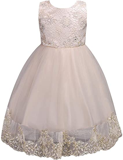 Flower Girl Dress Princess Pageant Wedding Bridesmaid Birthday Glittery Dress