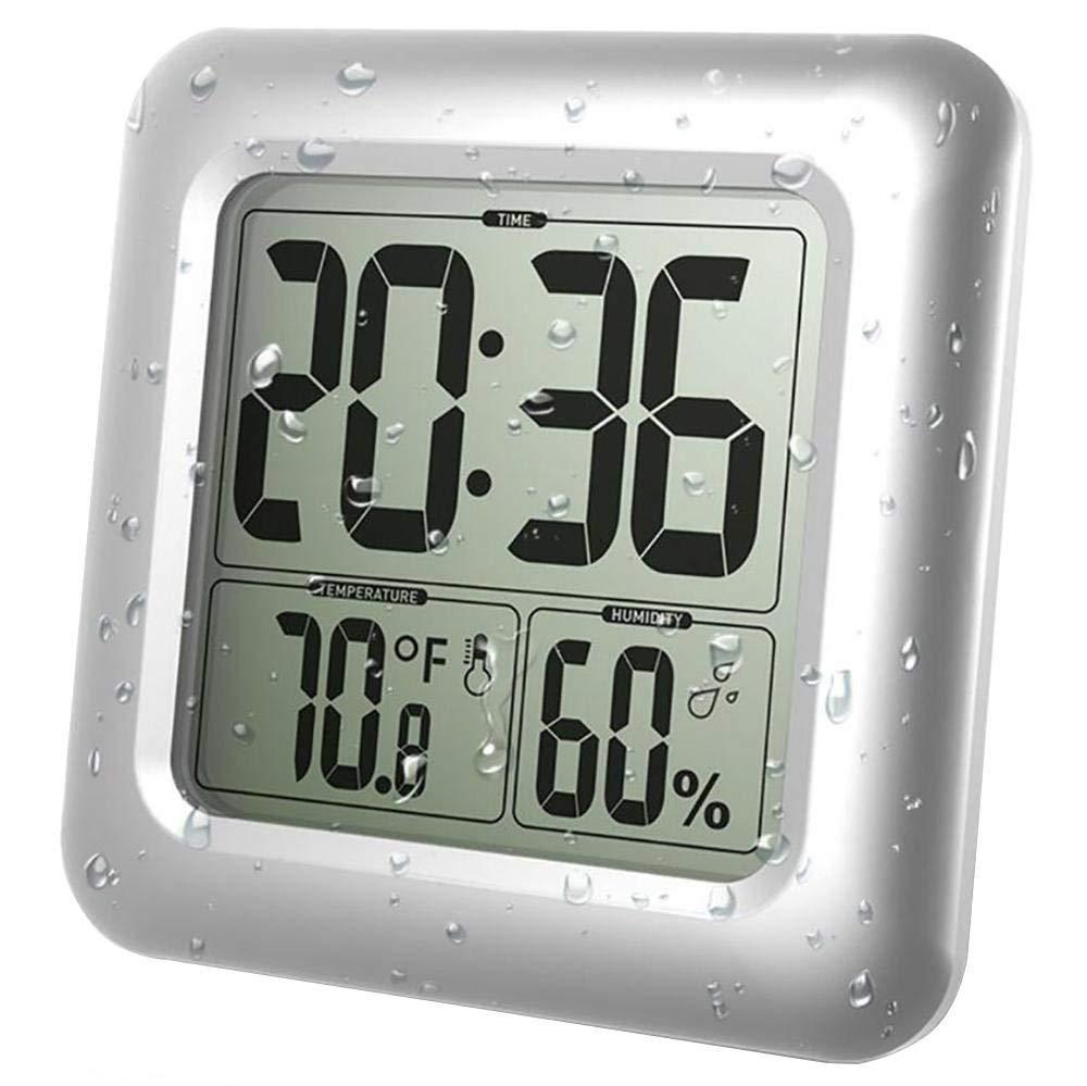 DollylaStore Dusche Uhr wasserdicht Digitalanzeigen Zeit Thermometer Hygrometer Silber