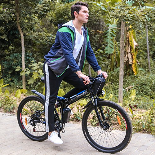 36v Lithium Ion Battery (Folding 26'' Electric Mountain Bike, Lithium-Ion Battery (36V 250W), Premium Full Suspension and Shimano Gear (Black))