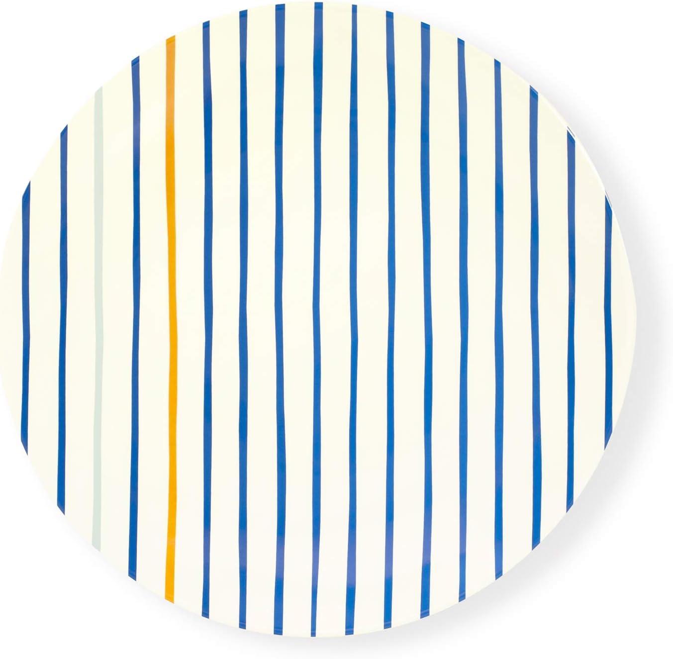 Kate Spade New York Reusable Melamine Dinner Plate, Dishwasher Safe, Citrus Twist Stripe