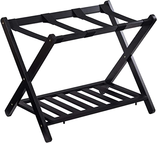 GOFLAME Folding Luggage Rack Wooden Suitcase Luggage Stand for Home Bedroom  Hotel with Shelf,Black