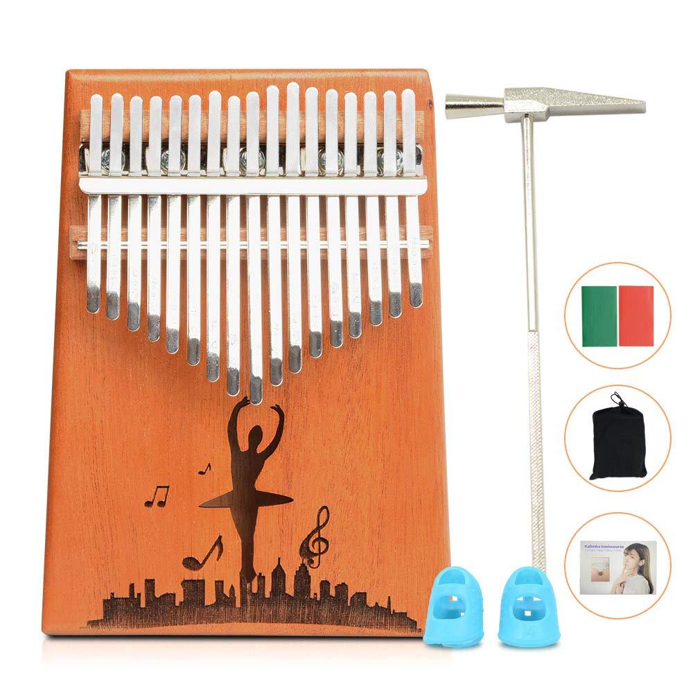 17 Key Kalimba Thumb Piano Solid Mahogany Wood Body Keyboard Instrument (Wood(guitar)) Apelila