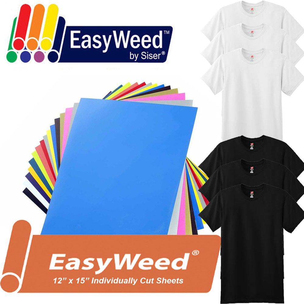 12-Color KIT 12'' x 15'' Siser Easyweed Heat Transfer Vinyl HTV + 6 Blank T-Shirts (Bundle)