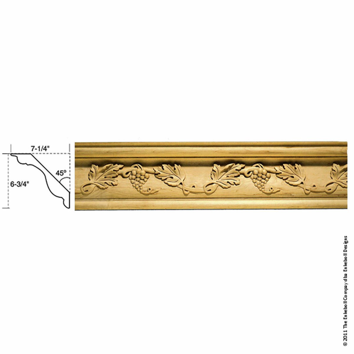 6 3/4''W x 7 1/4''P, 18'' Repeat, Molding Grape Crown, 8' Length, Maple by Enkeboll Designs
