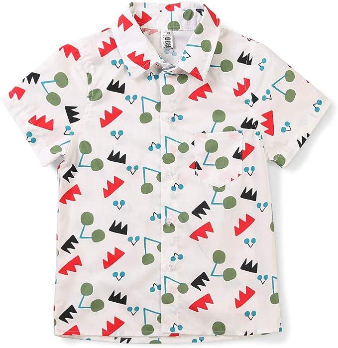 Phorecys - Camisa - Button Down - Floral - Manga Corta - para niño: Amazon.es: Ropa y accesorios