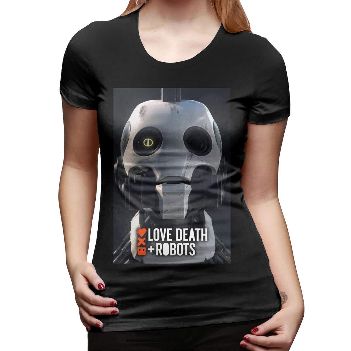 HAYDEN Womens Custom Cute Tees Love,Death/&Robots Short Sleeve Classic Tshirts Black