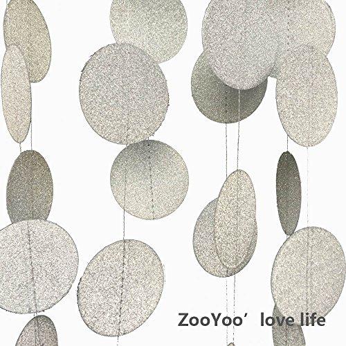 ZOOYOO-4PCS-Hanging-Paper-Glitter-Gold-Circle-Dots-Paper-Garland-Silver