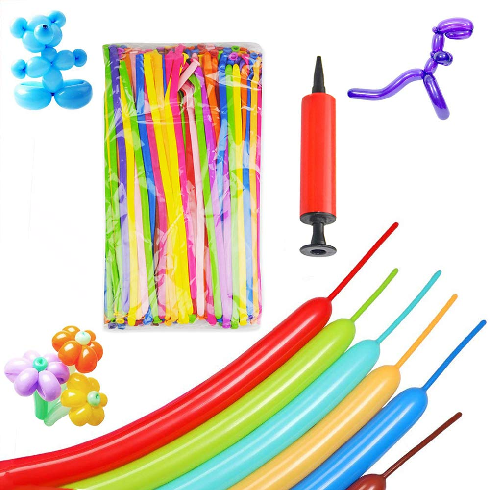 200PCS Long Magic Balloons Latex Twisting Balloon Animals Shape Weddings Birthdays Clowns Party Decorations with Pump