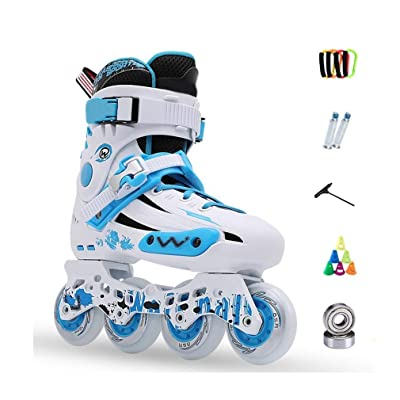 Sljj Inline Skates, Adult Single Row Skates Professional Men and Women Roller Skates Child Full Set (3 Colors) (Color : Blue, Size : 43 EU/10 US/9 UK/26.5cm JP): Home & Kitchen