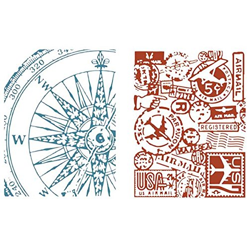 Sizzix Texture Fades Embossing Folders By Tim Holtz 2/Pkg-Airmail & Compass 658574