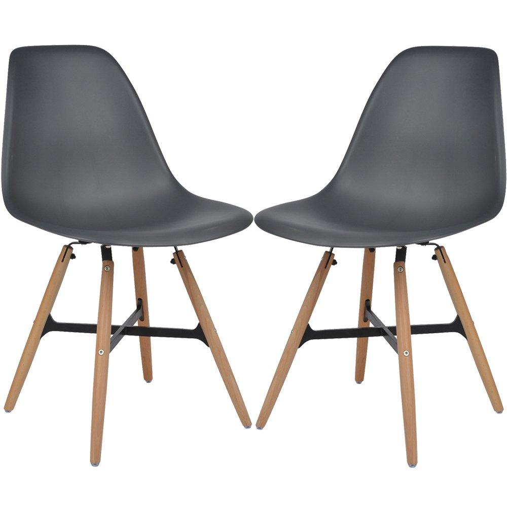 2er Set Retro Design Esszimmerstühle anthrazit Kunststoff 46 cm Sitzhöhe Buchenholz