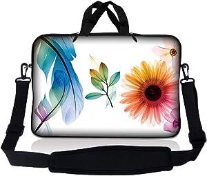 Laptop Skin Shop 8-10.2 inch Neoprene Laptop Sleeve Bag Carrying Case with Handle and Adjustable Shoulder Strap - Daisy Flower Leaves Floral