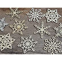 10 qty 3 inch Unfinished Wood Snowflake Ornament MIX for DIY Crafts