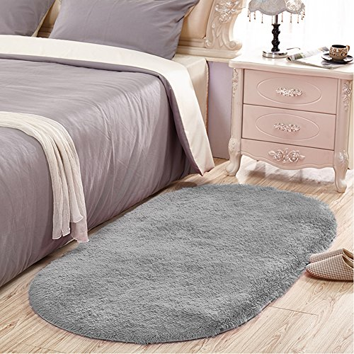 SANMU Soft Velvet Silk Rugs Simple Style Modern oval Shaggy Carpet Fashion Bedroom Mat for Dining Room, Living Room Pink Rugs for Girls Room Home Decor 2.6' X 5.3' Grey