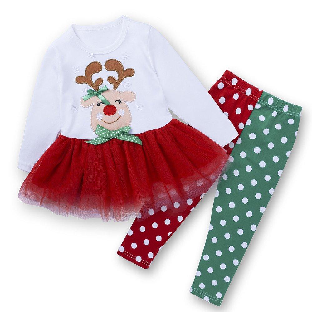 Toddler Kids Baby Girl Deer Dot Princess Dress Tops Pants Christmas Outfits Set Mary ye