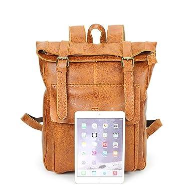 LCLiang Mens Genuine Leather Bag Leisure Business Handbag Layer Cowhide Male Shoulder Bag Messenger Bag Color : Yellow-Brown