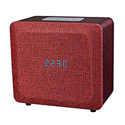 Samtronic Bedside Wireless Bluetooth Speakers with Digital Alarm Clock ,Bluetooth Stereo Speaker with FM Radio Built in Mic, MP3 Player, USB and AUX-In Slots for Smart Phone, Tablet and More- Red