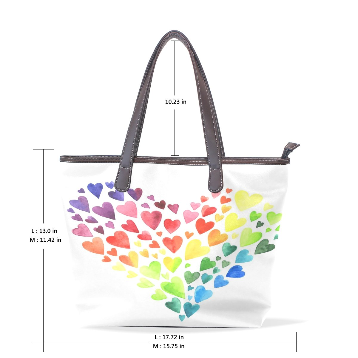SCDS Watercolor Love PU Leather Lady Handbag Tote Bag Zipper Shoulder Bag