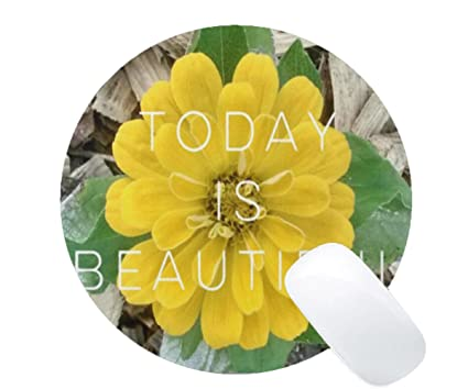 Amazon mousepad today is beautiful with yellow flower print mousepad today is beautiful with yellow flower print round mouse mat mightylinksfo