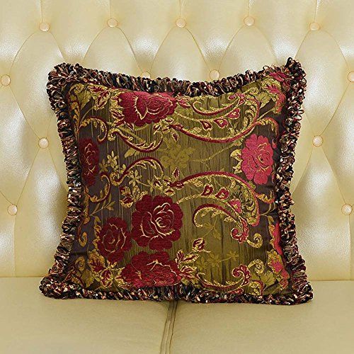 MeMoreCool Luxury Palace Style Exquisite Jacquard Throw Pillow Cover,Elegant Pillowcase with Fringe Edge Decor,Home Decor Sofa Cushion Cover Pink Fringe Pillow