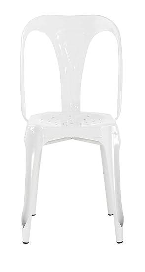 Lote de 4 silla Industriales, de Metal blanco brillante - lote de 4 ...