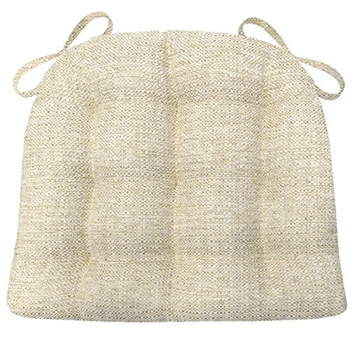 Basketweave Patio Chair (Barnett Products Brisbane Natural Dining Chair Pads with Ties - Size Standard - Latex Foam Fill, Reversible - Made in USA)