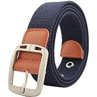 Irypulse Hombres Mujeres Cinturón Trenzado de Lona Cuero de PU Tela para Hebilla clásica de aleación de zinc del vintage con Cinturones de Unisex Adecuado para el ocio Formal Negocios
