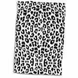 3D Rose Snow Leopard Animal Print Towel, 15'' x 22'', Multicolor