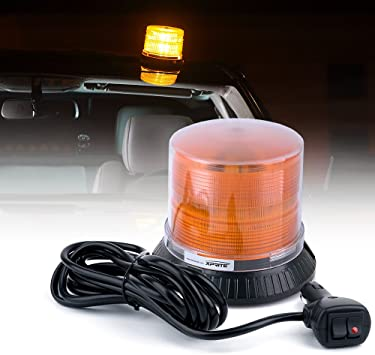 Xprite Super Bright Red Rotating Revolving LED Beacon Strobe Light,with Magnetic Mount 60LEDs 15W Emergency Warning Caution Flashing Light for Snow Plow Truck UTV 12v Vehicle