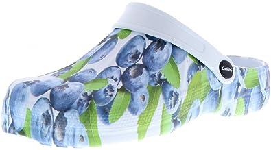ConWay Damen Clogs Pantoletten Blaubeeren Mehrfarbig, Größe:38, Farbe:Mehrfarbig