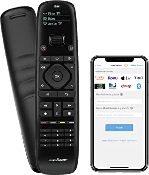 SofaBaton Universal Remote Control with Mobile Phone APP, Super Easy One-Click Universal Remote for FirTV/Roku/Nvidia Shield/Vizio/Marantz/Yamaha Streaming Players (Support IR & Blutooth Devices)