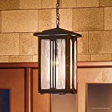 Luxury Craftsman Outdoor Pendant Light, Large Size: 19''H x 10.5''W, with Mid-Century Modern Style Elements, Vertical Stripes Design, Natural Black Finish and Water Glass, UQL1054 by Urban Ambiance