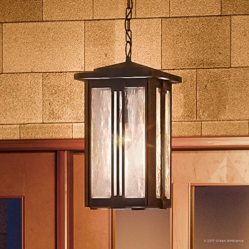 Luxury Craftsman Outdoor Pendant Light, Large Size: 19''H x 10.5''W, with Mid-Century Modern Style Elements, Vertical Stripes Design, Natural Black Finish and Water Glass, UQL1054 by Urban Ambiance by Urban Ambiance