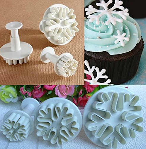 Snowflake Fondant Cake Decorating Sugar Craft Cutter Plunger Mold Mould