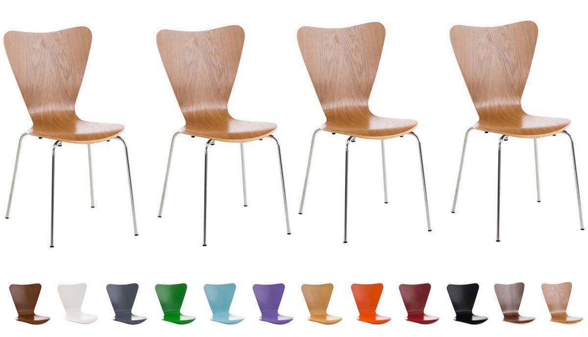 CLP Set de 4 chaises empilables CALISTO - siège ergonomique - chaise de visiteur - chaise zone d'attente - piètement