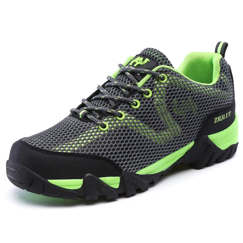 Grey Fluorescent Green 38 Fashion shoesbox Mens Womens Lightweight Outdoor Hiking shoes Breathable Mesh Water shoes