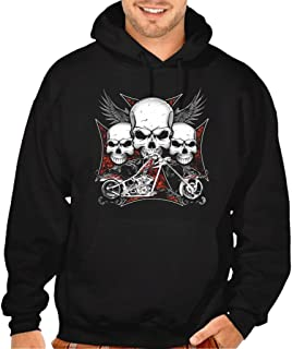 Interstate Apparel Mens Chopper Cross Biker Black Pullover Hoodie Sweater Black