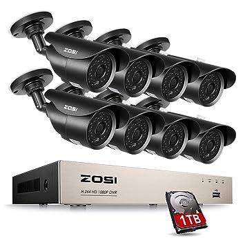 ZOSI 8CH 720P CCTV Kit Sistema de Seguridad Hogar HDMI Grabador con 8 Cámaras Bullet, 1TB Disco Duro, 120ft Visón Nocturna: Amazon.es: Bricolaje y ...
