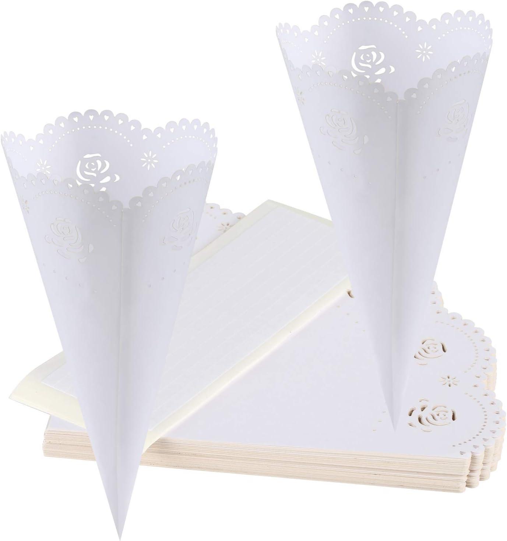 GWHOLE 100 Pcs Rose Confetti Petal Cone for Wedding Party, White