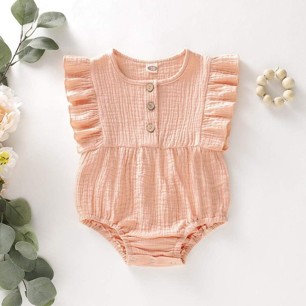 Plot Sommer M/ädchen Strampler Baby Mode /Ärmellos R/üschen Overall Einfarbig Kleidung Outfits Neugeborenes Baby Kind Bodysuit Romper Outfits