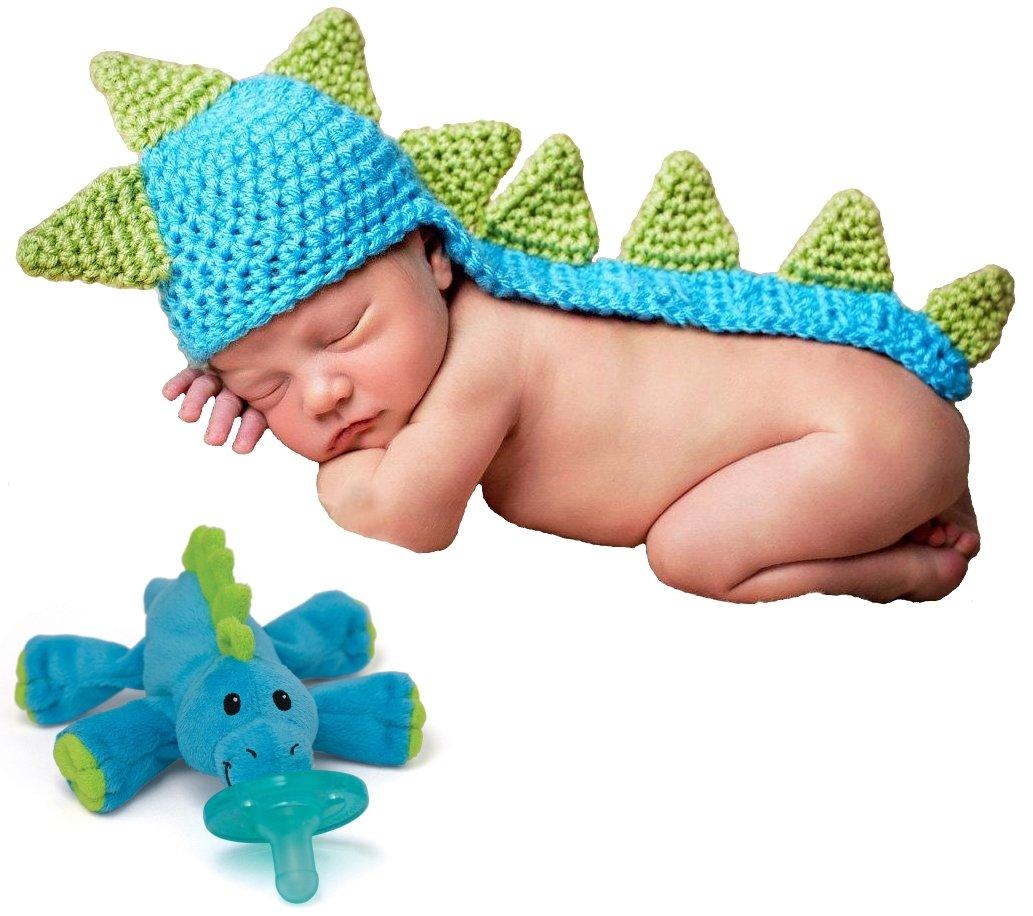 Amazon.com: Wubbanub bebé chupete Dino de peluche con bebé ...