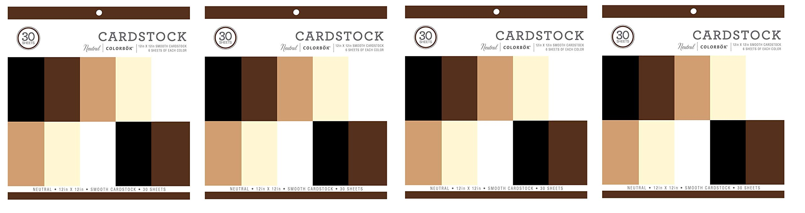 Colorbok Neutral Smooth Cardstock Paper Pad 12'' x 12 (4-Pack)