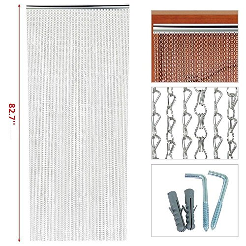 Topeakmart 83 x 35 inch Metal Chain Curtain Fly Pest Insect Door Screen Control Silver - Bead Chain Curtain