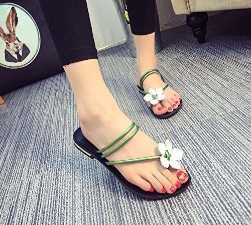 35 da tonda Estate camminata Verde donna Tacco Argento Taglia Infradito Scarpe 40 Rosso Punta basso Nero da SHINIK Verde qxHaBq4