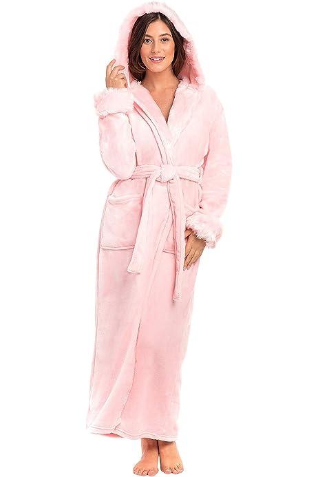 Hellomamma Long Hooded Robe for Women Luxurious Flannel Fleece Full Length Bathrobe Winter Warm Pajamas Shower Nightgown