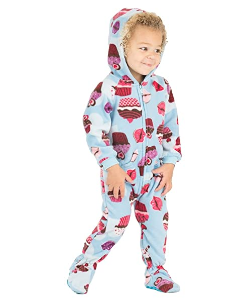 720e1b751 Amazon.com: Footed Pajamas - Blue Cupcakes Infant Hoodie Fleece ...