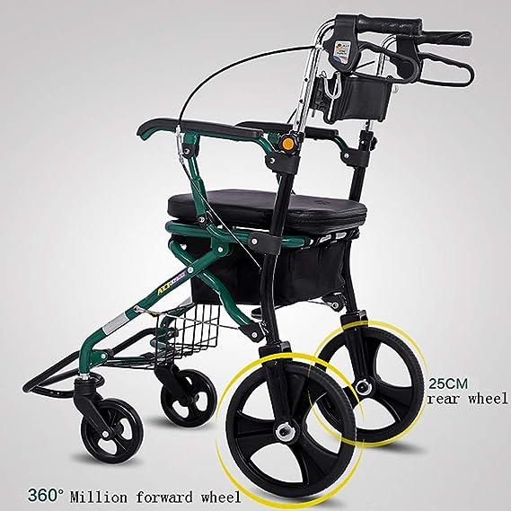 CHZBY- Andador de Andador Plegable - Andador médico de 4 Ruedas ...